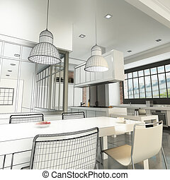 Loft kitchen wireframe - 3D rendering of a luxurious...