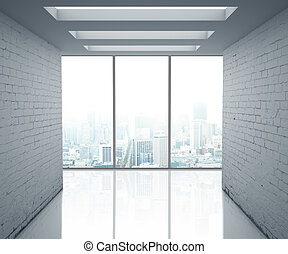 loft office and big window