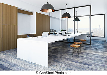 Loft office interior with equipment and city view. 3D...