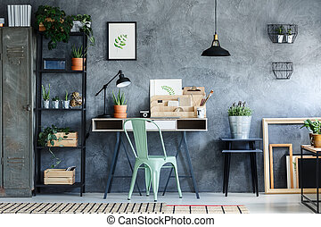 Loft office with vintage decor - Loft office with industrial...