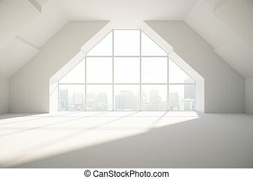 Loft room with creative window, city view and daylight. 3D...