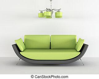 Loft sofa with chandelier in minimalism interior