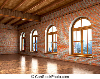 Loft studio Interior in old house. Big windows, brick red...