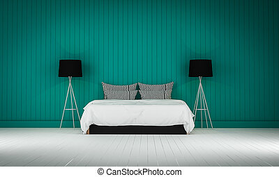 Loft style bedroom 3d rendering