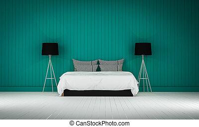 Loft style bedroom 3d rendering