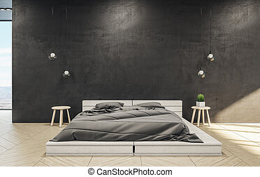 Loft style bedroom interior with bed