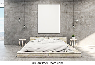 Loft style bedroom interior with blank vertical poster.