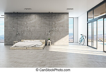 Loft style bedroom interior with wooden bed and bike.