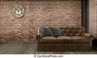 Loft style interior design. 3D rendering