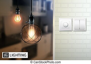 Loft Style Lamps And Switches Poster - Poster with lamps in...