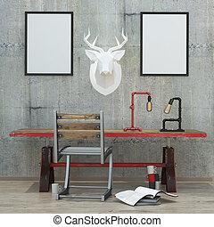 loft style modern interior background, 3D render - loft...