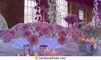 Loft-style restaurant decorated for wedding