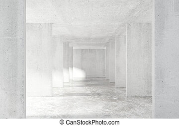 Loft style tunnel with many walls in light empty building