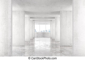 Loft style tunnel with many walls in light empty building with big window and city view