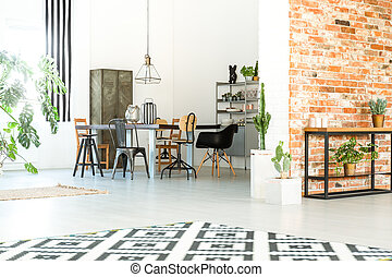 Loft with brick wall - Loft interior with open dining room ...