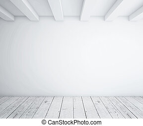 loft with wood floor - white empty loft room and wood floor