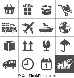 logística, ícones, set., simplus, série