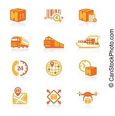 logística, ícones, ||, suculento, série