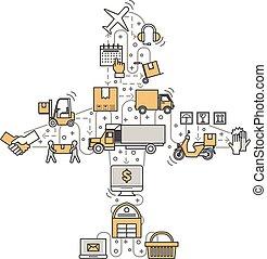 logística, apartamento, conceito, arte, ilustração, vetorial, linha