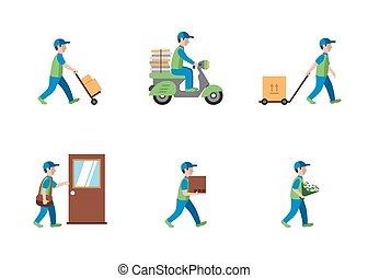 logística, apartamento, estilo, entrega, mensageiro