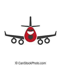 logística, apartamento, transporte, avia, isolado, avião, aeronave, vetorial, ou, ícone