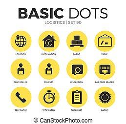 logística, apartamento, vetorial, jogo, ícones