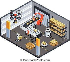 logística, automático, plano de fondo, entrega, isométrico