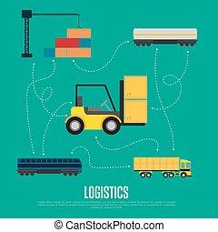 logística, bandeira, global, transporte