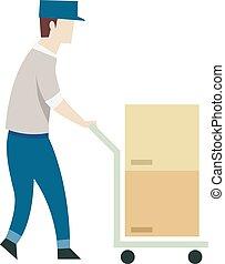 logística, bonde, caixas, empurrão, homem