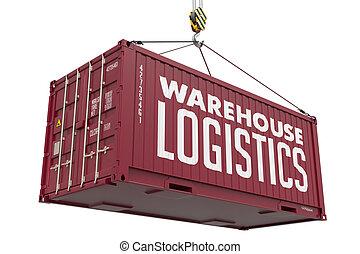 logística, carga, container., -, ahorcadura, almacén, rojo