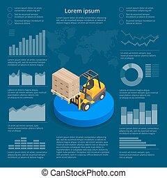 logística, carga, Isométrico, elementos, red, mundo, mapa,  vector, vehículos, iconos, gráficos, Ilustración, comercio,  infographic, diseño,  infographics, internacional, datos, transporte