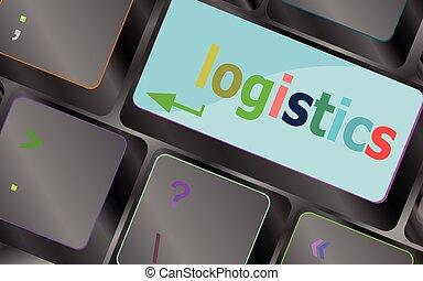 logística, conceito, negócio, laptop, button., ilustração, vetorial, key., palavras, teclado, teclado