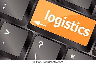 logística, conceito negócio, laptop, ilustração, vetorial, palavras, teclado
