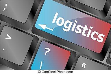 logística, conceito, negócio, laptop, teclas, vetorial, palavras, teclado, teclado, botão