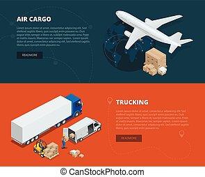 logística, concepto,  global, números, llevar, Isométrico, red,  on-time, entrega, plano, carga, carga, Ilustración, entrega, Transporte por carretera, Diseñado, Logístico, vehículos, Aire, grande,  vector, Logístico, banderas
