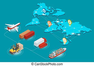 logística, concepto,  global, sitio, números, llevar, Aire, tela, Isométrico, red,  on-time,  3D, plano, transporte, carga, carril, Ilustración, entrega, marítimo, vehículos, envío, Transporte por carretera, grande,  vector, Diseñado