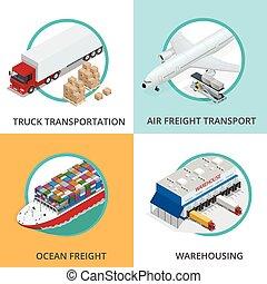 logística, Conjunto,  global, marítimo, números, llevar, Aire, carga, Isométrico, red,  on-time,  3D, plano, transporte, carril, Ilustración, entrega,  China, Diseñado, vehículos, envío, Transporte por carretera, grande,  vector