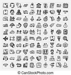 logística, doodle, jogo, ícones