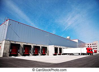 logística, edificio, camión