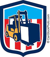 logística, escudo, forklift, materiais, caminhão, retro