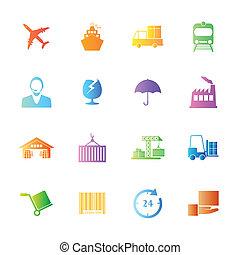 logística, estilo, coloridos, ícones, set., vetorial