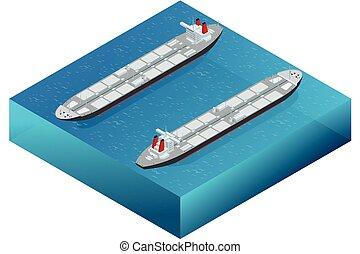 logística, industrial, conceito, negociar, mar, navio, navio, tanker., azul, -, químico, isometrics, óleo, negócio, comercial, gás, comércio, indústria, despacho, oceânicos, petroleiro, transporte