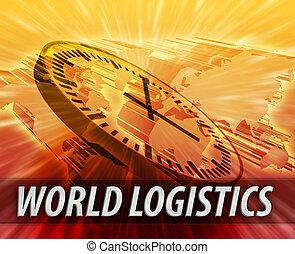 logística, internacional, concepto, dirección