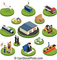 logística, isométrico, iconos, conjunto, de, diferente, transporte, distribución, vehículos, y, entrega, elementos, aislado, vector, ilustración
