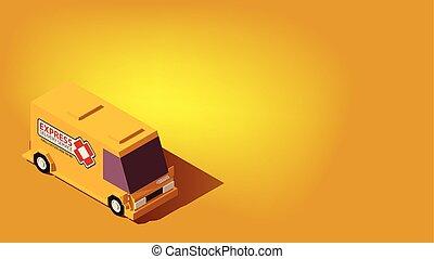 logística, isometric, concept., expresso, relocation, amarela, entrega, carro., ou