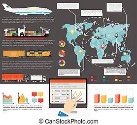 logística, iternational, envío, infographics, plantilla, vector