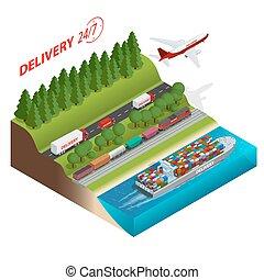 logística, números, envío, llevar, carga, Isométrico, entrega,  3D, red, plano, carga, carril, marítimo, Transporte por carretera,  trucs, Diseñado, Ilustración,  ontime, vehículos, grande,  vector,  aair, transporte