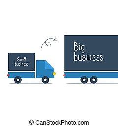 logística, negocio grande, carro de entrega, pequeño