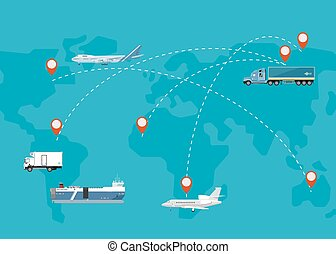 logística, plano, concepto, red,  global, diseño
