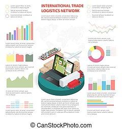 logística, ser, utilizado, red, empresa / negocio, workflow, opciones, global, número, ilustración, arriba, diagrama, disposición, vector, lata, infographics, paso, bandera, tela, design.